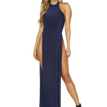 Roma 3657 Maxi Length Halter Neck Dress with High Slits