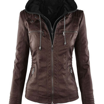 Faux Leather Stitching Long Sleeve Hooded Jacket