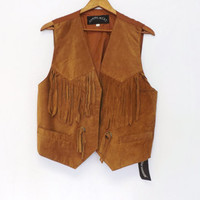 Vintage 80s 90s Retro Brown Fall Suede Leather Fringe Vest Southwestern Rodeo Men Women Hippie Vest Top Indian Native American Indie Chick