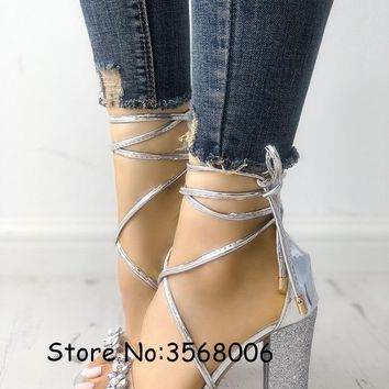 Shiny Crystal Transparent Strappy Chunky Heeled Sandals Silver Gold Rhinestone