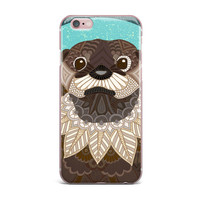 "Art Love Passion ""Otter in Water"" Blue Brown iPhone Case"