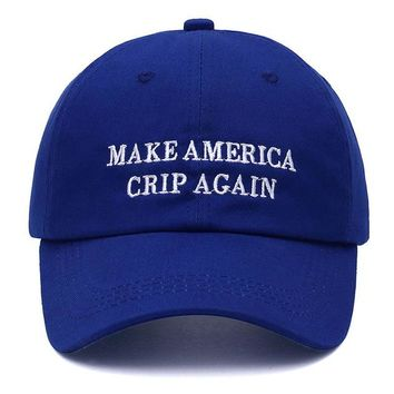 """make america crip again"" dad hat"