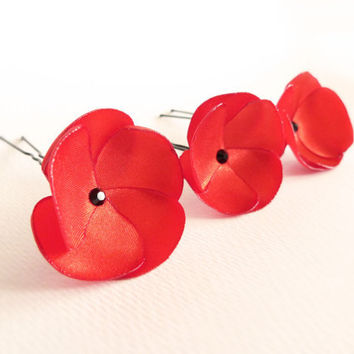 Red satin poppy hair pins black Swarovski LIMITED EDITION by Jye, Hand-made in France