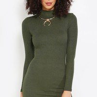 Side Slit Mock Neck Ribbed Dress