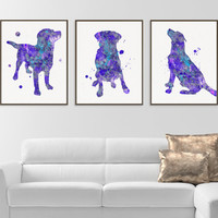 Labrador Art, Labrador Print, Set of 3 Prints, Watercolor Labrador, Labrador Wall Decor, Dog Lover Gift, Pet Lover Gift, Labrador Painting