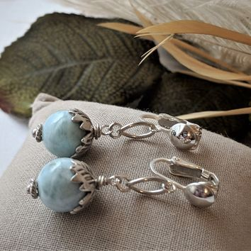Artisan Crafted One of a Kind Sterling Silver Larimar Clip-on Dangle Earrings