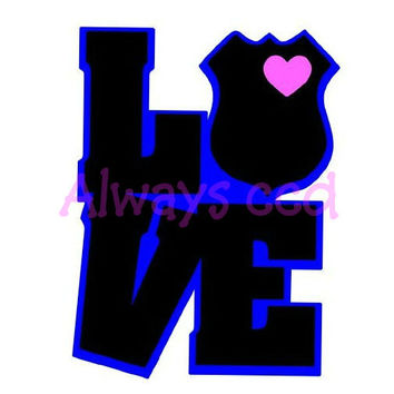 Law Enforcement Love Multi Color vinyl Decal