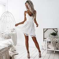 Spaghetti Straps V-neck High Waist Lace Short Dress