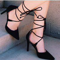 Stay With Me Lace Up Heels