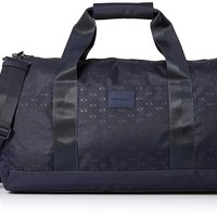 Armani Exchange Men's Light Weight Dobby Nylon All Over Logo Duffle Weekender Bag