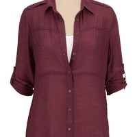 3/4 sleeve lightweight textured tunic
