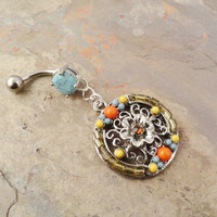Ornate Belly Button Jewelry Ring Turquoise Orange by MidnightsMojo