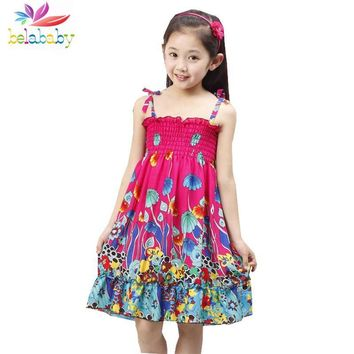 Belababy Summer Bohemian Girls Dress With Beading