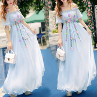 White/Blue Sweet Floral Fairy Dress SP179784