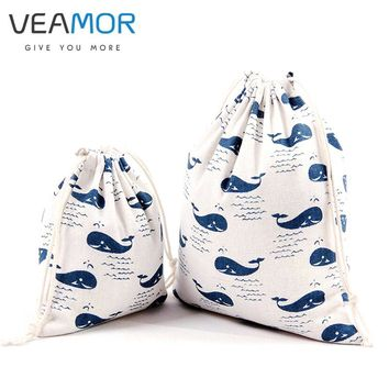 VEAMOR Candy Gift Bags for Children Cotton Drawstring Bags Whale Printed Small Gift Storage Bags 3pcs/set WB287