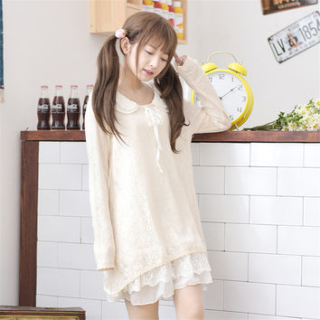Mori Girl 2017 New Spring Women Dress Lace Peter Pan Collar Ruffles Long Sleeve Cute Loose Girl Spring Dress Cotton Kawaii Japan