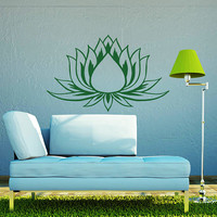 Wall Decals Lotus Flower Vinyl Sticker Decal Art Home Decor Mural Mandala Ornament Indian Geometric Moroccan Pattern Yoga Namaste Om AN385