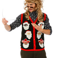 Santas of the World Ugly Christmas Sweater Light Up Vest