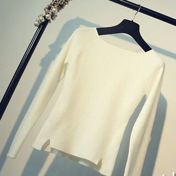 Casual Long Sleeve Double Slit Long Sleeve Sweater
