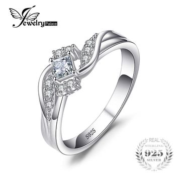 JewelryPalace Bridal Princess-Cut Cubic Zirconia Wedding Ring Pure 925 Sterling Silver Fashion Jewelry Birthday Present