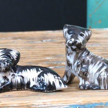 Vintage Miniature Scottish Terrier Dog Figurines . Black and White . Japan Circa 1930s . Porcelain Scottie Dogs