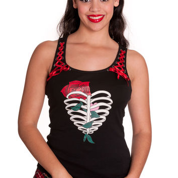 Hell Bunny Ribcase & Rose with Red Ribbon Lace-up Corset Racer Back Tank Top