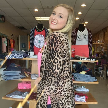 Loose Fitting Leopard Cardigan with Open Sides