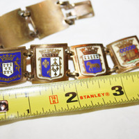 French Enamel Souvenir Bracelet Tourist Shield Crest 1940s Jewelry