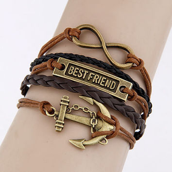Best Friend Infinity Anchor Bracelet