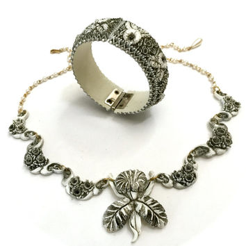 White Orchid Featherlite Celluloid Necklace and Hinged Bracelet Demi