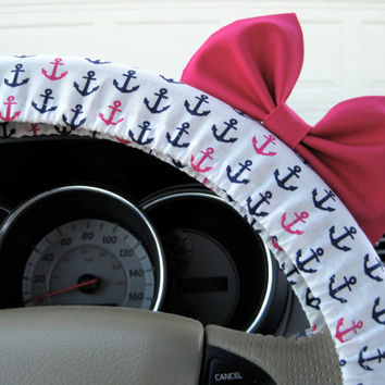 The Original Navy Blue and Hot Pink Anchor Steering Wheel Cover with Matching Bright Brink Pink Bow