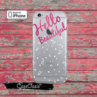 Hello Beautiful Quote Pink Tumblr Inspired Cute Clear Rubber Phone Case For iPhone 6 and iPhone 6 Plus + Transparent Crystal Custom Case