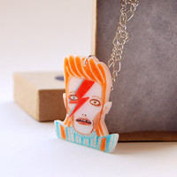 DAVID - Necklace with Pendant, shrink plastic, David Bowie