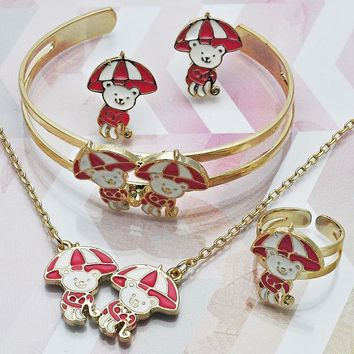 Gold Layered Girls Teddy Bear Earring and Pendant Children Set, by Folks Jewelry