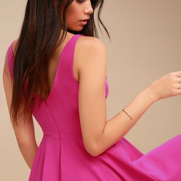 Darling Delight Fuchsia Skater Dress