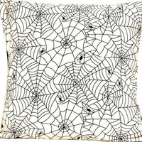 Spiderweb Halloween Pillow Cover Spiders Black Natural Beige Decorative Repurposed 16 x 16
