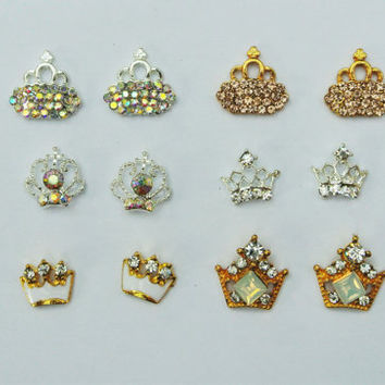 12 pcs Crown Nail Charms, Gold Crown, Royal Crown Nail Design, 3d Nail Art, Glitter Nail Design, wedding Nails, Bridal, Prom Nails,