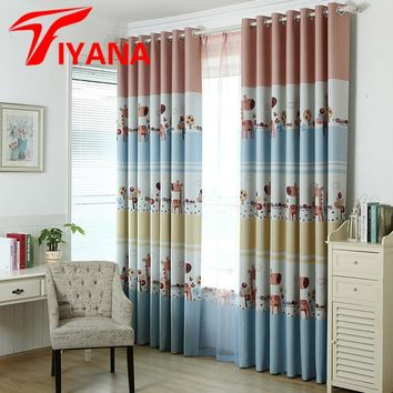 Modern Child Cartoon Printed Kids Curtain for Baby Room Blackout Curtains for Bedroom Window Drapes Eco-friendly Fabric P194Z20
