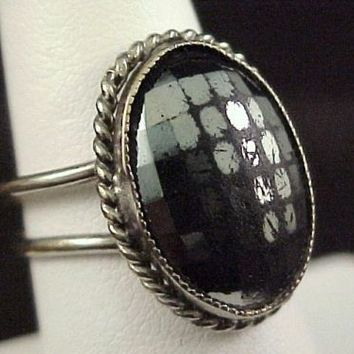 Vtg Hematite Glass Cab Silver Tone Ring Size 6.5 Ethnic Adjustable