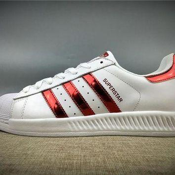 VON3TL 2017 Newest Adidas Originals Superstar White / Red / Gold Metallic Sneakers Classic Casual Shoes