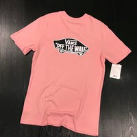 """Vans"" Hot Letter Print Short Sleeve T-Shirt Top Pink I-XMCP-YC"