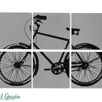 Retro Bicycle Painting - Large Bike Wall Art 24x36 on 6 Panels - Perfect Gift Idea