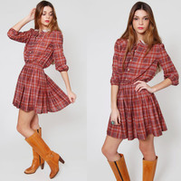 Vintage 70s PLAID Mini Dress Burgundy Indie School Girl Dress with LACE Collar