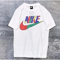 NIKE Summer New Fashion Multicolor Letter Women Men Sports Leisure Top T-Shirt White