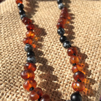 Baltic Amber Onyx Snowflake Obsidian Teething Necklace