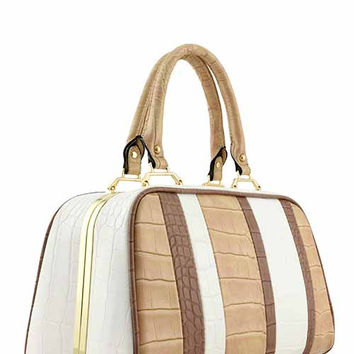 DESIGNER CROC MULTI COLOR STRIPE FRAME BAG