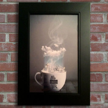 Drink It In - Unique Home Decor - 11x17 - Framed Coffee House Art  (Available for 5 Different Major U.S. Cities!)