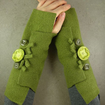 Olive arm warmers fingerless gloves arm by piabarile