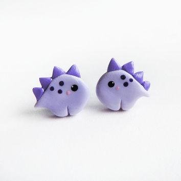 Polymer Clay Purple Baby Stegosaurus Dinosaur Earrings