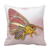 Psychedelic Colorful Fantasy Butterfly Drawing Throw Pillow